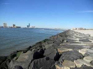 The jetty at the south end of Brigantine Island across from Atlantic City nightlife.